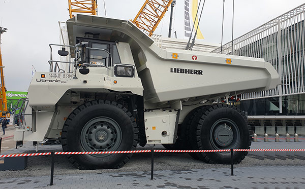 Liebherr dump truck with bed made by Solintal, 100 t load capacity
